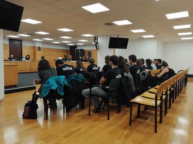 Imagen de los acusados en sala del Palacio de Justicia.