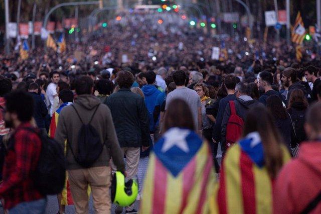 Manifestació convocada pels CDR a Barcelona