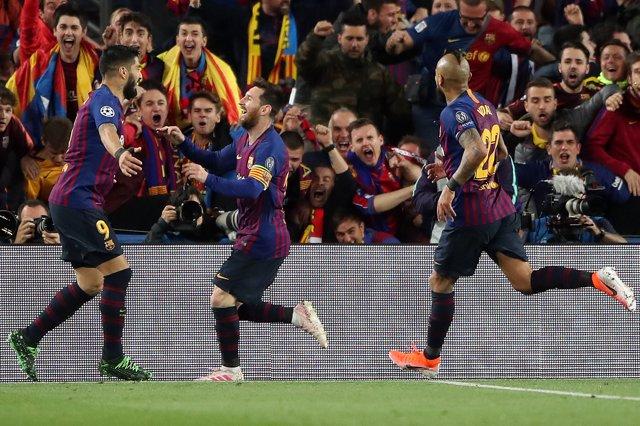 1r de maig 2019, Barcelona: Lionel Messi celebra un gol davant el Liverpool al Camp Nou: Nick Potts/PA Wire/*dpa