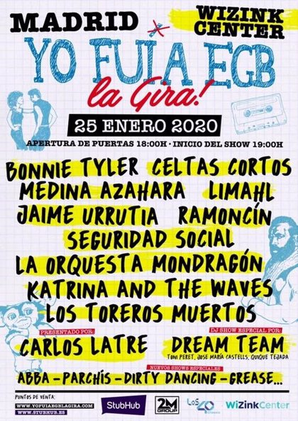 Bonnie Tyler, Limahl, Ramoncín y Katrina and The Waves, en la primera quedada de 2020 de Yo Fui a EGB en WiZink Center