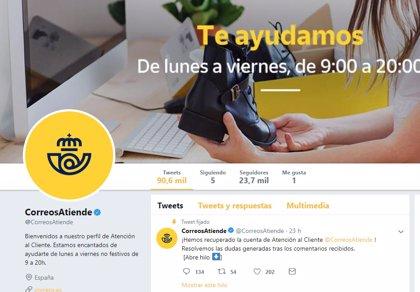 Correos restablece su cuenta de atención al cliente de Twitter tras el 'hackeo'