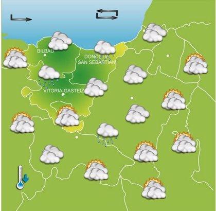 Abundante nubosidad y lluvias diurnas, con máximas de 20 grados este viernes en Euskadi
