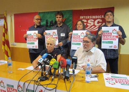 """La Intersindical-CSC y la IAC llaman a la huelga por """"los derechos y las libertades"""""""