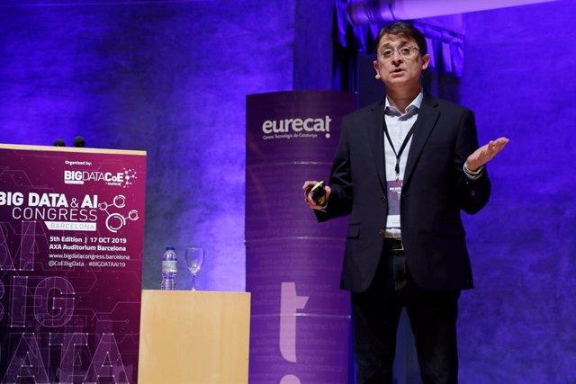 El vicepresident corporatiu d'Intel·ligència Artificial i Investigació de Microsoft, Jordi Ribas, en el Big Data & AI Congress organitzat per Eurecat.
