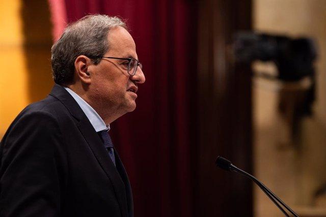 El president de la Generalitat de Catalunya, Quim Torra, al Parlament (Cataluña, España), a 17 de octubre del 2019