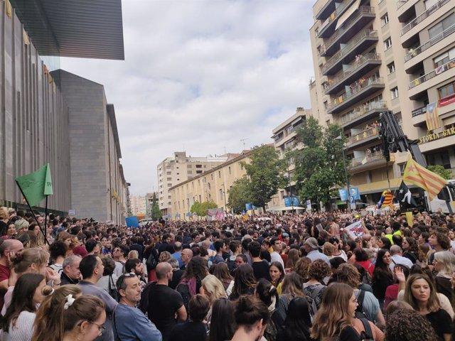Protesta a Girona després de la publicació de la sentència sobre els líders sobiranistes