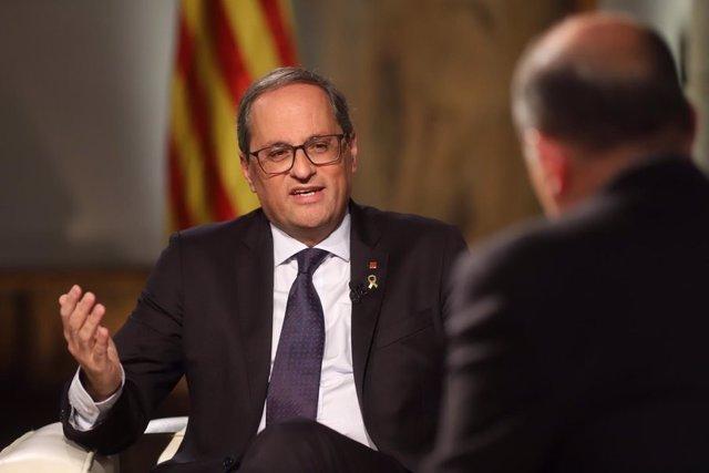 El president de la Generalitat, Quim Torra, entrevistat en Tv3