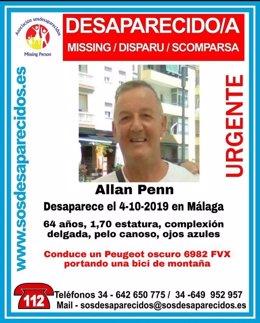 Cartel que alerta de la desaparición de Allan Penn