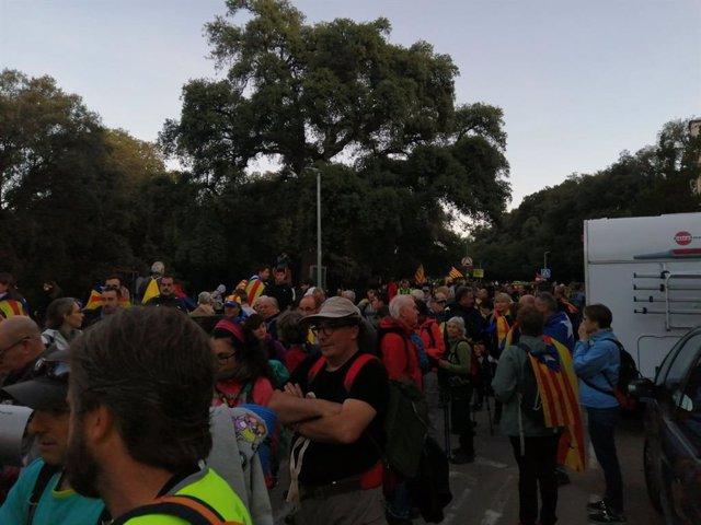 Participants en la columna de la Garriga de la Marxa per la Llibertat