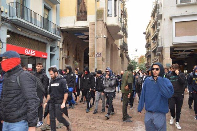 Piquet del comitè de vaga a l'Eix Comercial de Lleida