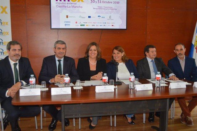 La consejera, el presidente de la Diputación, y la alcaldesa en la presentación del IMEX