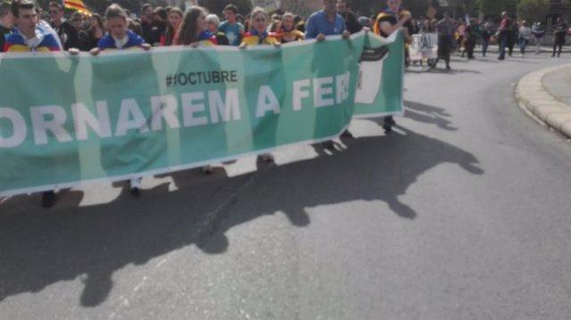 Manifestació d'estudiants a Lleida