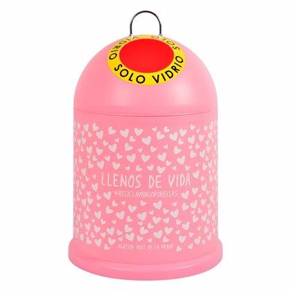 Contenedores de vidrio rosas contra el cáncer de mama