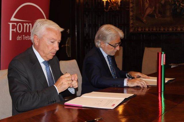 El president de Cecot, Antoni Abad, i el de Foment del Treball, Josep Sánchez Llibre.