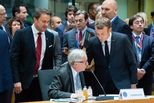 Emmanuel Macron y Jean-Claude Juncker