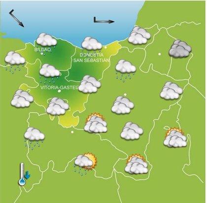 Cielos nublados durante la mañana y precipitaciones abundantes por la tarde este sábado en Euskadi