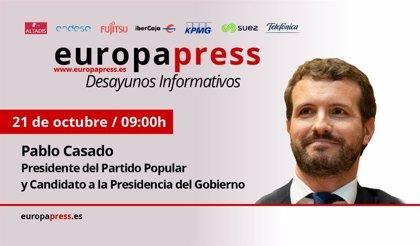 Casado interviene el lunes en los Desayunos Informativos de Europa Press arropado por la cúpula del PP y sus 'barones'