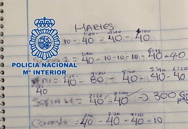 Material intervenido en una operación policial contra trata de seres humanos.