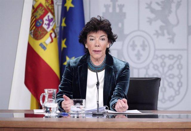La ministra Portavoz del Gobierno, Isabel Celáa, tras la reunión del Consejo de Ministros.