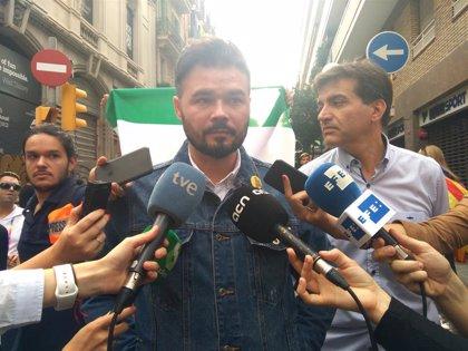 """Rufián pide unidad estratégica y avisa de que ERC no venderá """"ni humos ni magias"""""""