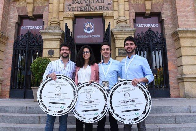 Rafael Navajas (UCO), Rocío del Olmo y Carlos Torres (Universidad de Málaga) y Francisco Cárdenas (Universidad de Cádiz), premiados por Carrefour por tres proyectos sobre el sector comercial.