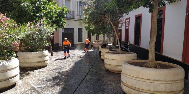 Actuación de LIPASAM en la calle San Isidoro