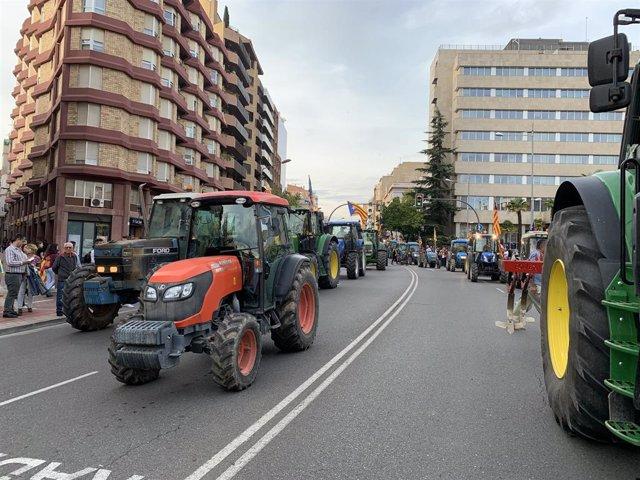 Imatge de la manifestació a Lleida durant la vaga general d'aquest divendres