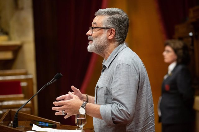 El portaveu de la CUP, Carles Riera, intervé en una sessió del Parlament de Catalunya