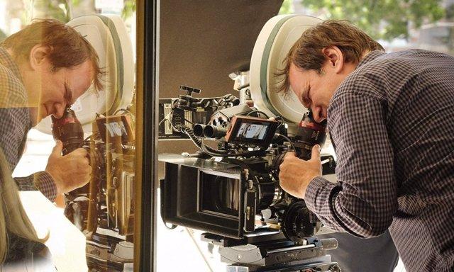 Quentin Tarantino durante la filmación de Érase una vez... En Hollywood