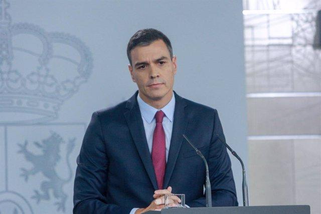El president del Govern, Pedro Sánchez, al Palau de la Moncloa.