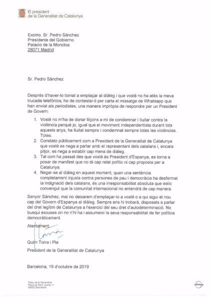 """Torra rechaza por carta a Sánchez que le dé """"lecciones"""" de condenar la violencia"""