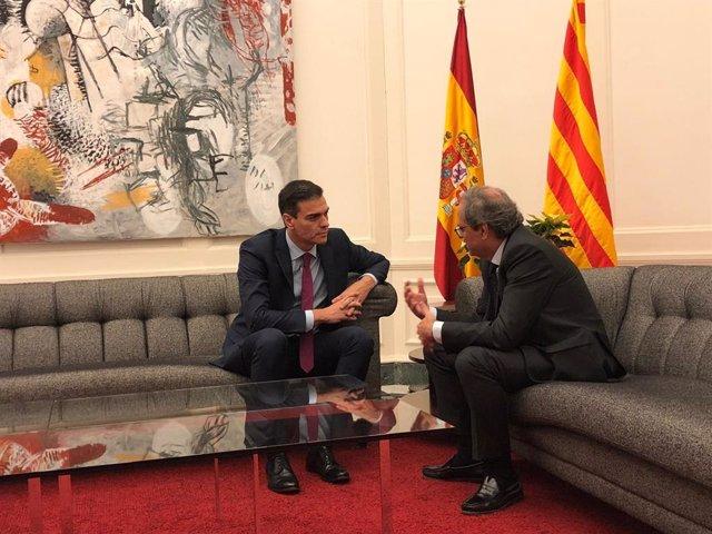 Pedro Sánchez i Quim Torra quan es van reunir a la Moncloa