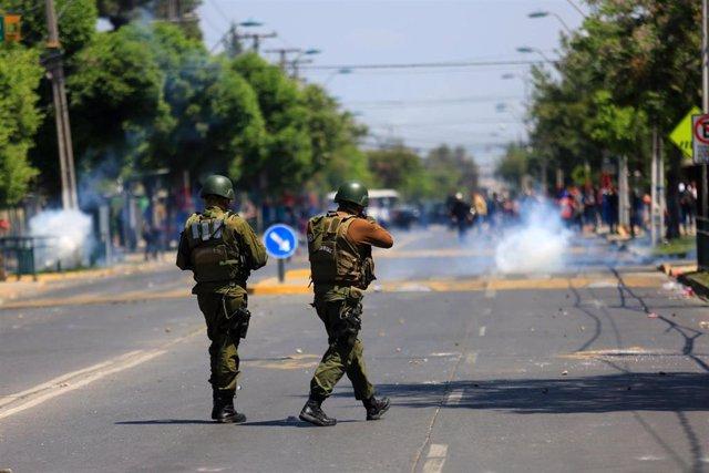 Disturbios durante las manifestaciones en Santiago de Chile