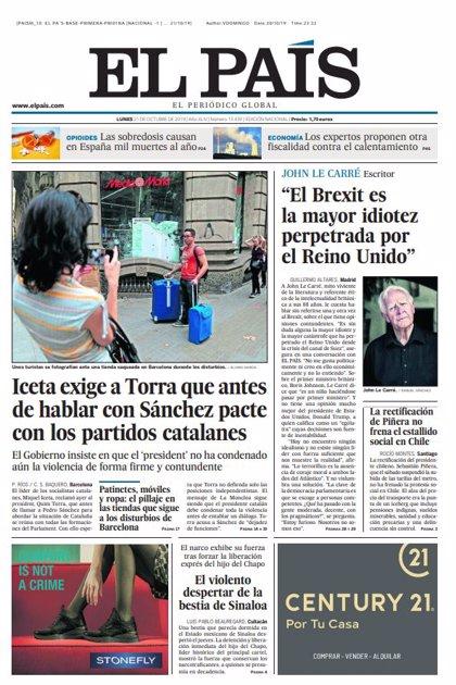 Las portadas de los periódicos del lunes 21 de octubre de 2019