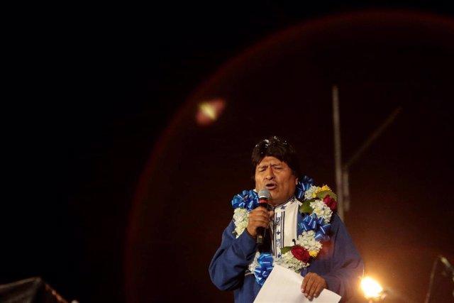 El presidente de Bolivia, Evo Morales, durante su cierre de campaña en El Alto