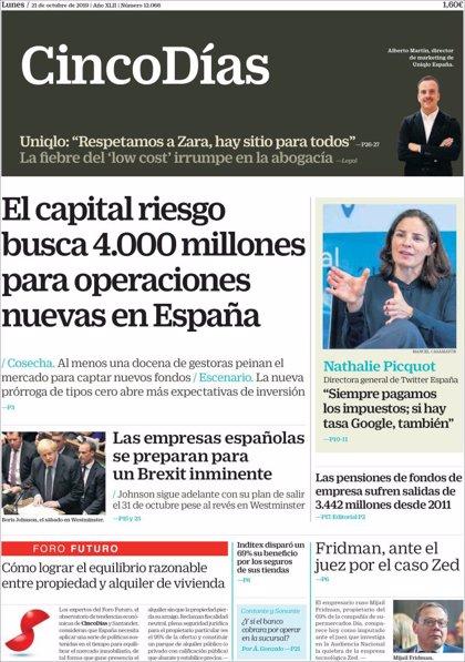 Las portadas de los periódicos económicos de hoy, lunes 21 de octubre