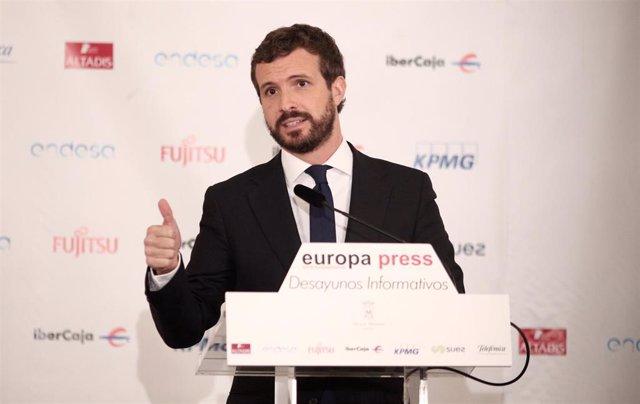 El presidente del PP, Pablo Casado, durante su intervención en un Desayuno Informativo de Europa Press, en Madrid (España), a  21 de octubre de 2019.