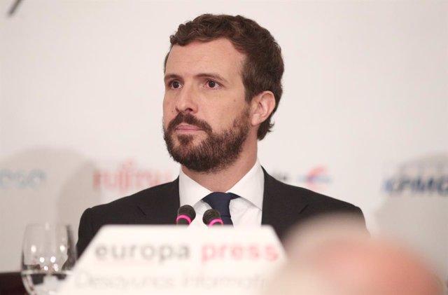 El president del PP, Pablo Casado, durant la seva intervenció en un Esmorzar Informatiu d'Europa Press, a Madrid (Espanya), 21 d'octubre del 2019.