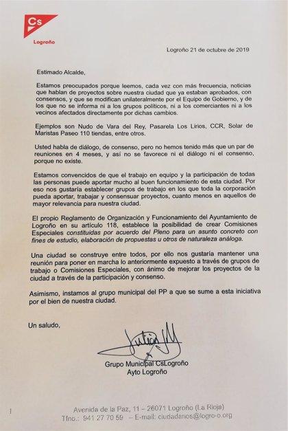 """Cs muestra en una carta al alcalde de Logroño su """"preocupación"""" por proyectos """"parados"""" y plantea grupos de trabajo"""