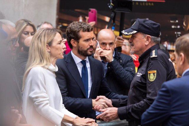 El president del PP, Pablo Casado, visita Barcelona juntament amb Cayetana Álvarez de Toledo