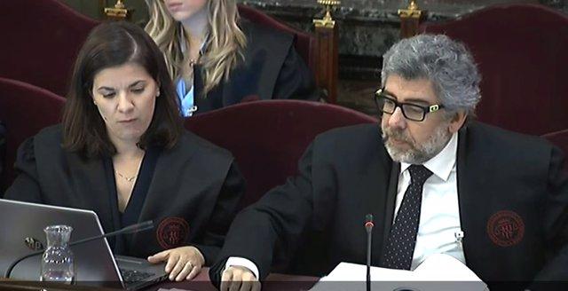 L'advocat defensor de Jordi Turull, Jordi Pina, durant la seva intervenció en l'interrogatori de l'exconseller de Presidència de la Generalitat, Jordi Turull, en la quarta jornada del judici del procés en el Tribunal Suprem.