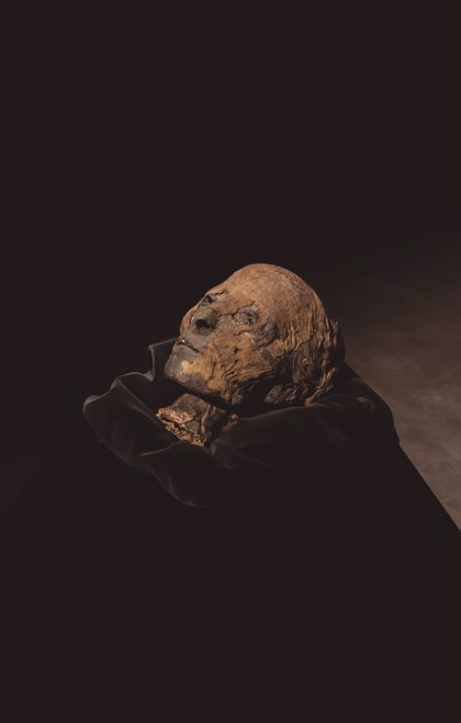 La cabeza de una momia del Imperio Nuevo de Egipto, una de las piezas protagonistas en Feriarte 2019