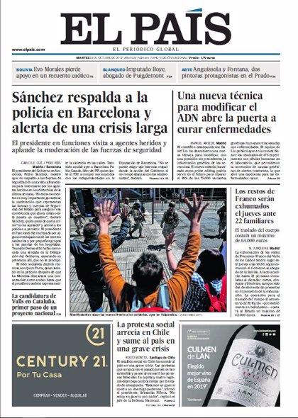 Las portadas de los periódicos del martes 22 de octubre de 2019