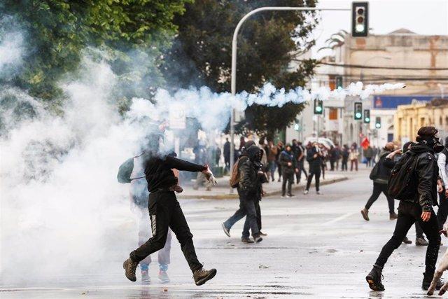 Protestas en Valparaíso, Chile.