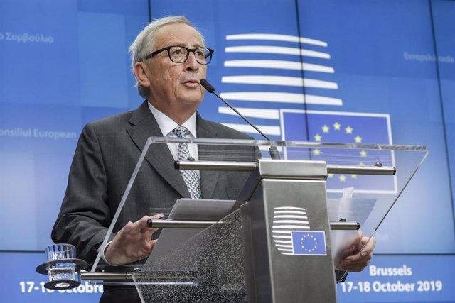 Jean-Claude Juncker en rueda de prensa en Bruselas