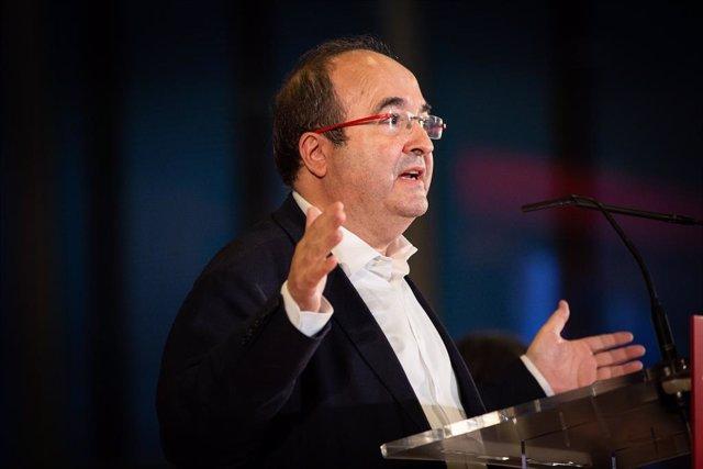 El líder del PSC, Miquel Iceta, intervé en un acte de precampanya de les eleccions generals, Barcelona
