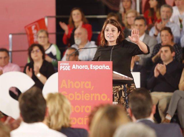 La portaveu socialista al Congrés, Adriana Lastra, en un acte del PSOE a Oviedo, 4 d'octubre del 2019