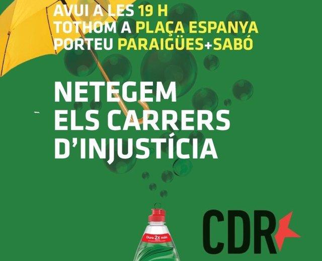 Convocatòria dels CDR a la plaça Espanya de Barcelona.