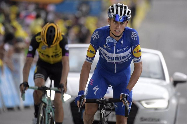 25 July 2019, France, Valloire: Spanish cyclist Enric Mas of Deceuninck - Quick-Step pictured during the arrival of the stage 18 of the 106th edition of the Tour de France cycling race, 208 km from Embrun to Valloire. Photo: Yorick Jansens/BELGA/dpa