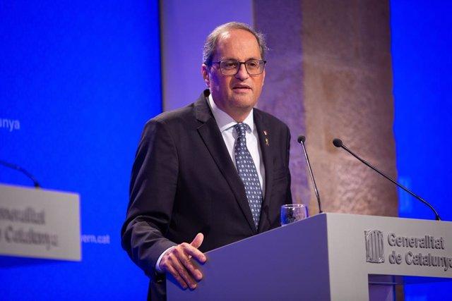 El president de la Generalitat, Quim Torra intervé en roda de premsa després del Consell Executiu de la Generalitat, a Barcelona (Espanya), a 22 d'octubre del 2019.